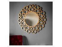 Gallery Direct Wrakes 118cm Wall Mirror in Gold Multi Circle - New & Boxed w Labels RRP £250