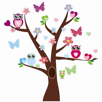 er Sticker Kinderzimmer Bunt Eulen Schmetterling Baum Neu 29 (Bunter Schmetterling Tattoos)
