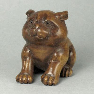 Japanese 1940's Netsuke Boxwood Wood Handcrafted Dog Figurine Carving WN707