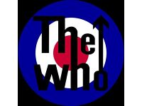 2 THE WHO TICKETS AMAZING SEATS £180 THE PAIR 12TH APRIL BIRMINGHAM COLLECTION OR CAN POST
