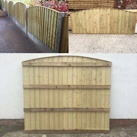 🔨🌟Top Quality Super Heavy Duty Vertical Board Bow Top Tanalised Garden Fence Panels