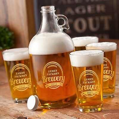 Personalized Beer Growler Set with Glasses Set Gift, Pub, Bar, Fathers Day