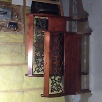 Solid wood and wrought iron twin sleigh bed with nightstand