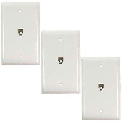 3 Pcs 1-Gang 1 Port RJ11 Wall Plate Telephone Phone Line Faceplate 6P4C White Gang Wall Plate 3 Port