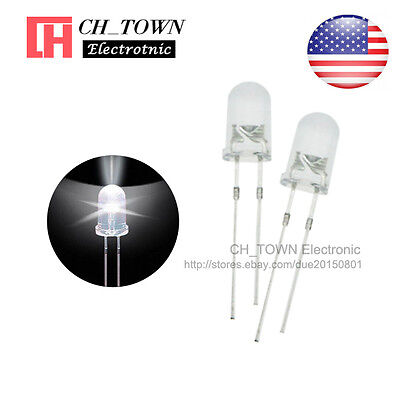 100pcs 5mm Led Diodes Water Clear White Light Transparent Round Top Usa