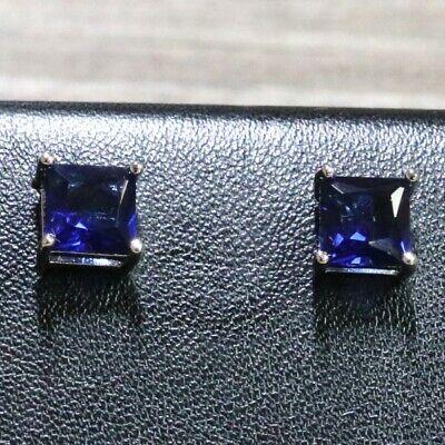 1Ct Princess Cut Blue Sapphire Earrings Women Engagement Jewelry 14K White Gold