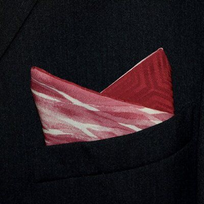 "Silk Pocket Square Men's Accessory Vintage Kimono Fabric ""Burgundy Birches"""