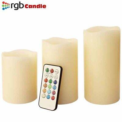 Tre Candele LED Senza Fiamma con Telecomando RGB Vera Cera Profumate a Vaniglia