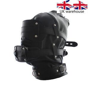 NEW Black Faux Leather Bondage Hood Mouth Gag Blindfold BDSM Full Head Mask