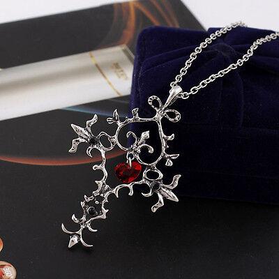 Retro Gothic Vampire Diaries Red Sacred Heart Memorial Cross Pendant Necklace Hs