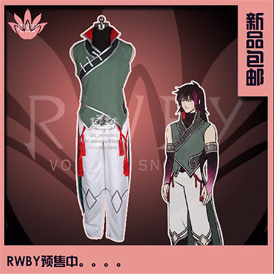 Anime 2016 RWBY IV Lie Ren Cosplay Costume Green Coat White Pants Full Sets