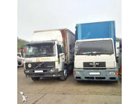 Left hand drive MAN 18.264 18 ton curtainsider with tail lift. Detachable body
