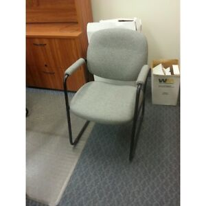 Light Grey Sleigh Guest Side Chair w Padded Arms