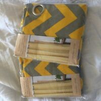 BRAND NEW: CHEVRON yellow and grey drapes. Two panels