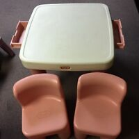 Little Tikes table and chairs plus baby doll high chair
