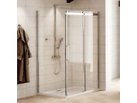 1000 x 900 Aquafloe Elite 8mm Sliding Shower Enclosure and Easy Plumb Tray