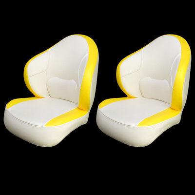 Deluxe White / Yellow Vinyl Boat Captain / Bucket / Fishing Seat Chairs (Pair)