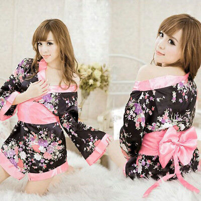 Satin Kimono Japanese Yukata Sakura Costume Bath Robe for Cosplay Party One Size