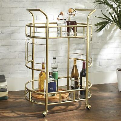 Bar Drink Serving Cart Rolling Glass Shelves 3 Bottle Rings Elegant Gold NEW Dining Room Kitchen Serving Cart