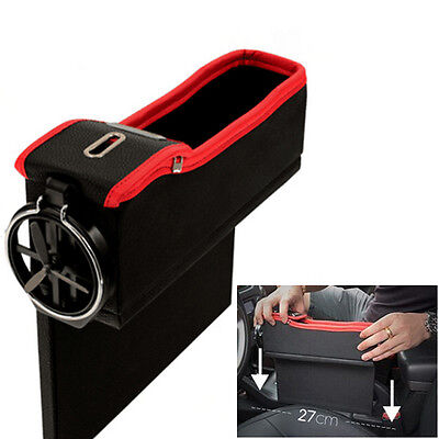 Leather Seat Gap Catcher Pocket Storage Box & Cup Holder For Left Side Top