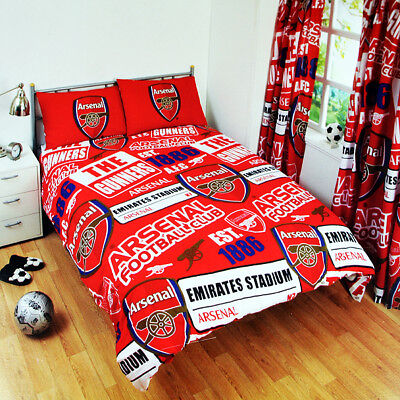 Arsenal FC Patch Double Duvet Cover and Pillowcase Set Blue And Red ()