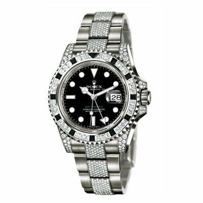 Rolex GMT Master II 18K White Gold Full Diamond 40mm Box Papers 116759SANR