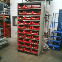 Industrial Steel Shelving Units Complete With Storage Bins