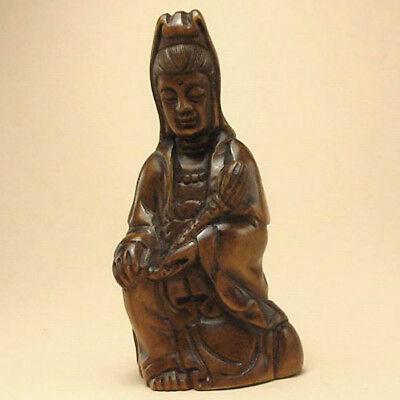 Japanese 1940's Netsuke Boxwood Wood Koon Yin Figurine Carving WN571