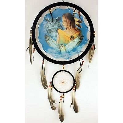 "Large 13"" Hoop Indian Maiden Native American-Style Mandala Dream Catcher"