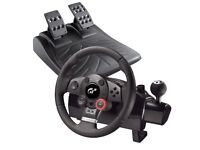 LOGITECH DRIVING FORCE STEERING WHEEL AND PEDALS PLUS 3 PS3 GAMES