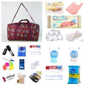 Pre-packed Essentials hospital/maternity bag Mum & Baby budget burgundy owl