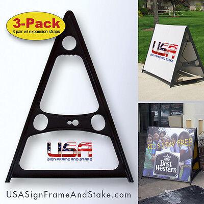 A-frame Sidewalk Sign Holder Sign Stand 3-pack