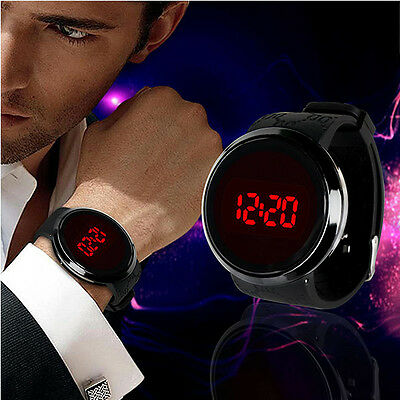 Mens Fashion Led Digital Touch Screen Day Date Silicone Wrist Watch