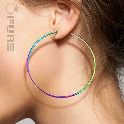 PAIR of Women's Hypoallergenic Surgical Stainless Steel Dangle Hoop Earrings