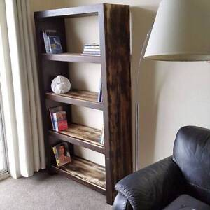 Solid Indian Hardwood Bookcase Shelves Dark Brown Distressed Coogee Eastern Suburbs Preview