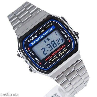 Casio A168WA-1 Classic Digital Stainless Steel Watch Alarm Chronograph A168W-1