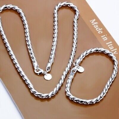 Fashion 925 Sterling Silver Jewelry Set Twisty Rope Chain Necklace Bracelet ()