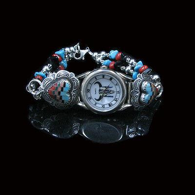 VINTAGE .925 Sterling Silver Multi-gemstone Turquoise Heart Wristwatch Watch Multi Gemstone Watch