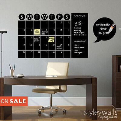 Chalkboard Calendar Office Wall Decal Sticker Organizer Memo, Peel and Stick