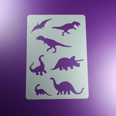 A5 Schablone Dinosaurier T-Rex 7 Saurier - BA508 Dinosaurier Schablonen