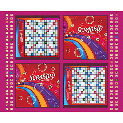 "SCRABBLE BOARD GAME TILES WORDS LETTERS  COTTON FABRIC  35"" PANEL  FREE SHIPPING"