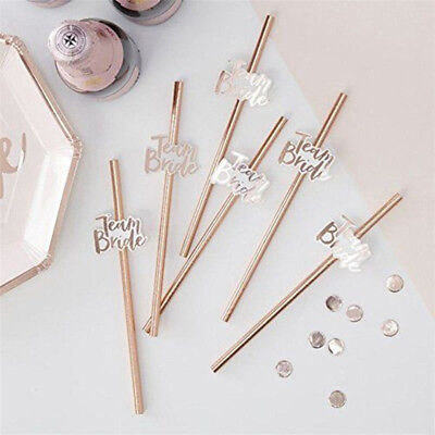 10pcs Team Bride Straws Rose Gold Wedding Hen Bachelorette Party Tableware Decor