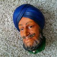 "Vintage Bosson Chalkware Head -- ""Sikh"" from 1966"