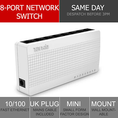 8-Port Fast Ethernet Switch LAN Network Hub Wired RJ45 Internet Splitter UK Plug