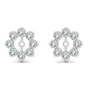 1.28 Carat G-H Round Diamond Solitaire Stud Earring Jackets Halo 14K White Gold | EBay