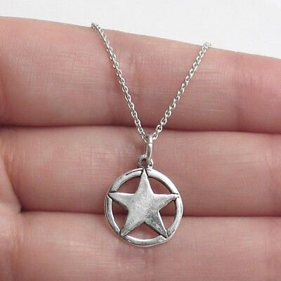 925 Sterling Silver Texas Lone Star Circle Charm with Necklace