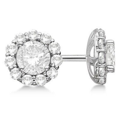 H SI 1.5ct Prong & Pave Modern Stud Diamond Earrings 14Kt White Gold
