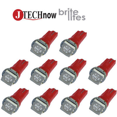 10 x T5, 5050 SMD LED Red Instrument Panel Dash Light Bulb 74 17 18 37 70 2721