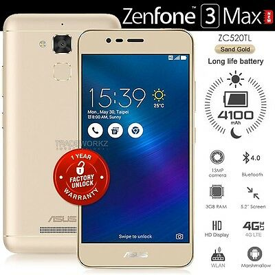 "New ASUS Zenfone 3 Max ZC520TL Gold 5.2"" IPS LCD 4G LTE Android 6.0.1 Cell Phone"
