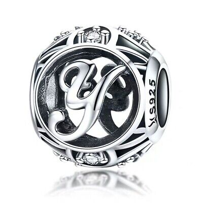 Authentic Pandora Sterling Silver Vintage Y Clear Charm 791869#